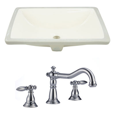 18.25-in. W CUPC Rectangle Undermount Sink Set In Biscuit - Chrome Hardware With 3H8-in. CUPC Faucet