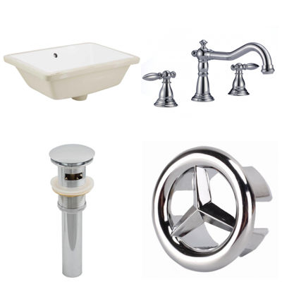 18.25-in. W CUPC Rectangle Undermount Sink Set In White - Chrome Hardware With 3H8-in. CUPC Faucet -Overflow Drain Included