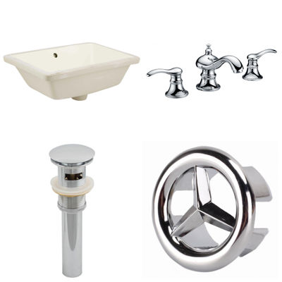 18.25-in. W CUPC Rectangle Undermount Sink Set In Biscuit - Chrome Hardware With 3H8-in. CUPC Faucet- Overflow Drain Included