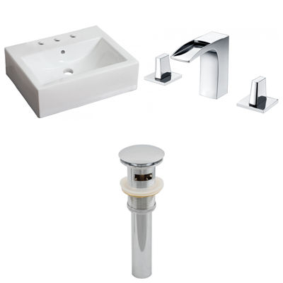 21-in. W Wall Mount White Vessel Set For 3H8-in. Center Faucet - Faucet Included