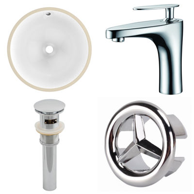 15.75-in. W CUPC Round Undermount Sink Set In White - Chrome Hardware With 1 Hole CUPC Faucet - Overflow Drain Included
