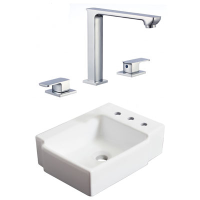 16.25-in. W Wall Mount White Vessel Set For 3H8-in. Right Faucet - Faucet Included
