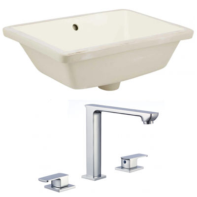 18.25-in. W Rectangle Undermount Sink Set In Biscuit - Chrome Hardware With 3H8-in. CUPC Faucet