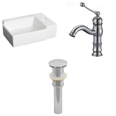 16.25-in. W Above Counter White Vessel Set For 1 Hole Right Faucet - Faucet Included