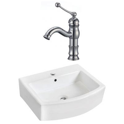 22.25-in. W Wall Mount White Vessel Set For 1 HoleCenter Faucet - Faucet Included