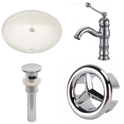 19.75-in. W CUPC Oval Undermount Sink Set In Biscuit - Chrome Hardware With 1 Hole CUPC Faucet - Overflow Drain Included