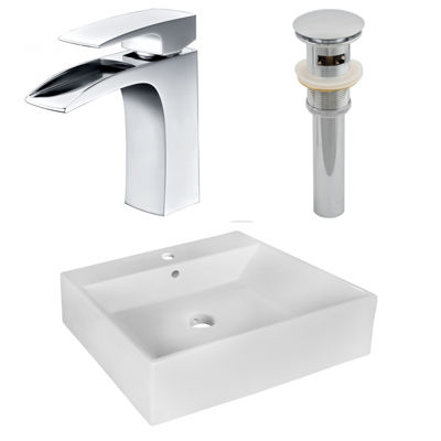 American Imaginations 20.5-in. W Above Counter White Vessel Set For 1 Hole Center Faucet - Faucet Included
