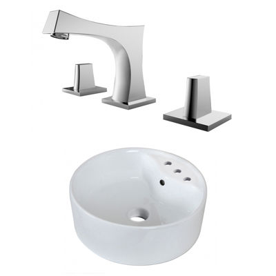 18.25-in. W Above Counter White Vessel Set For 3H8-in. Center Faucet - Faucet Included