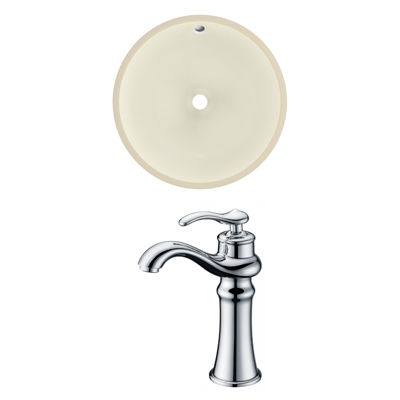 15.5-in. W CUPC Round Undermount Sink Set In Biscuit - Chrome Hardware With Deck Mount CUPC Faucet