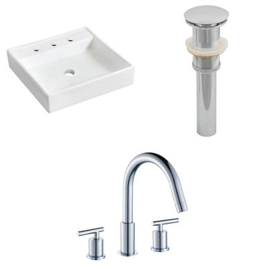 17.5-in. W Wall Mount White Vessel Set For 3H8-in.Center Faucet - Faucet Included
