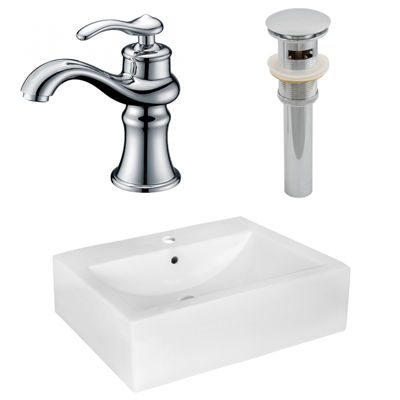 20.25-in. W Wall Mount White Vessel Set For 1 Hole Center Faucet - Faucet Included