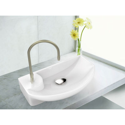 17.75-in. W Above Counter White Vessel Set For 1 Hole Left  Faucet - Faucet Included