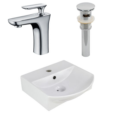 13.75-in. W Above Counter White Vessel Set For 1 Hole Center Faucet - Faucet Included