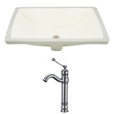 18.25-in. W CUPC Rectangle Undermount Sink Set InBiscuit - Chrome Hardware With Deck Mount CUPC Faucet