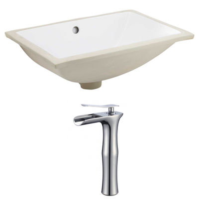 18.25-in. W CUPC Rectangle Undermount Sink Set InWhite - Chrome Hardware With Deck Mount CUPC Faucet