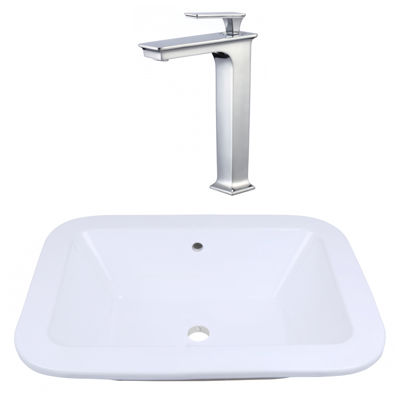 21.75-in. W Drop In White Vessel Set For Deck Mount Drilling - Faucet Included