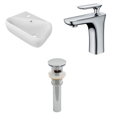17.5-in. W Wall Mount White Vessel Set For 1 HoleLeft  Faucet - Faucet Included