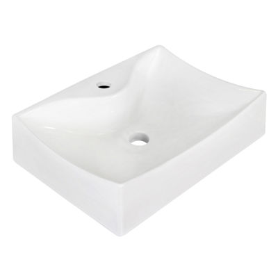 21.5-in. W Above Counter White Vessel Set For 1 Hole Center Faucet - Faucet Included