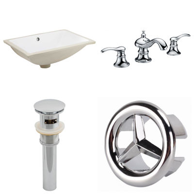 20.75-in. W CUPC Rectangle Undermount Sink Set InWhite - Chrome Hardware With 3H8-in. CUPC Faucet -Overflow Drain Included