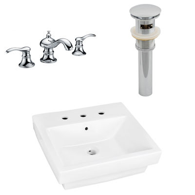 20.5-in. W Semi-Recessed White Vessel Set For 3H8-in. Center Faucet - Faucet Included
