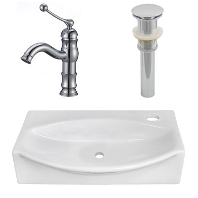 16.5-in. W Above Counter White Vessel Set For 1 Hole Right Faucet - Faucet Included