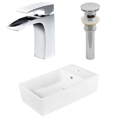19-in. W Above Counter White Vessel Set For 1 Hole Center Faucet - Faucet Included