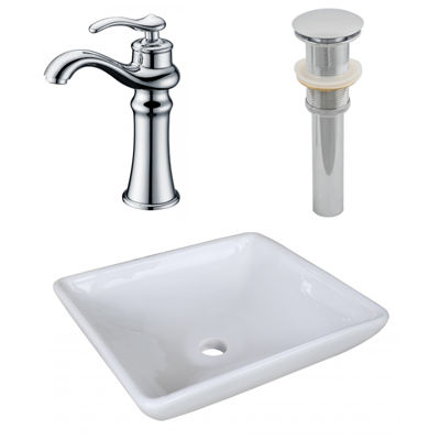 15.75-in. W Above Counter White Vessel Set For Deck Mount Drilling - Faucet Included