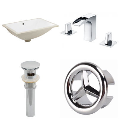 20.75-in. W CUPC Rectangle Undermount Sink Set In White - Chrome Hardware With 3H8-in. CUPC Faucet -Overflow Drain Included