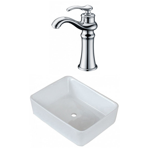 18.75-in. W Above Counter White Vessel Set For Deck Mount Drilling - Faucet Included