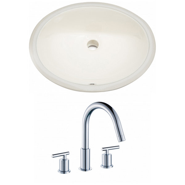 19.5-in. W CUPC Oval Undermount Sink Set In Biscuit - Chrome Hardware With 3H8-in. CUPC Faucet