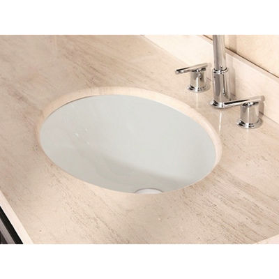 19.5-in. W CUPC Oval Undermount Sink Set In Biscuit - Overflow Drain Included