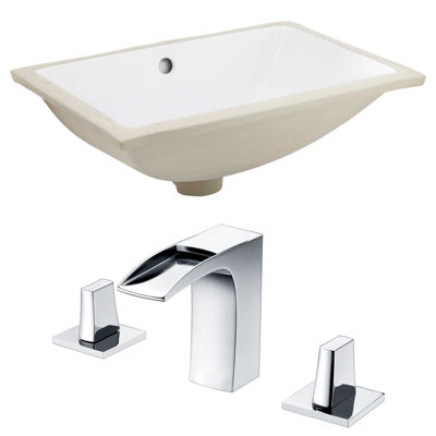 18.25-in. W CUPC Rectangle Undermount Sink Set In White - Chrome Hardware With 3H8-in. CUPC Faucet