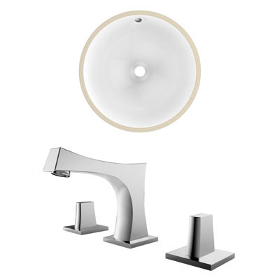 15.75-in. W CUPC Round Undermount Sink Set In White - Chrome Hardware With 3H8-in. CUPC Faucet