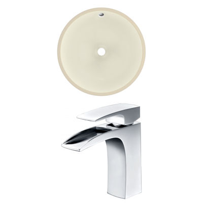16-in. W Round Undermount Sink Set In Biscuit - Chrome Hardware With 1 Hole CUPC Faucet