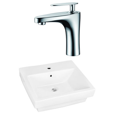 American Imaginations 20.5-In. W Semi-Recessed White Vessel Set For 1 Hole Center Faucet - Faucet Included