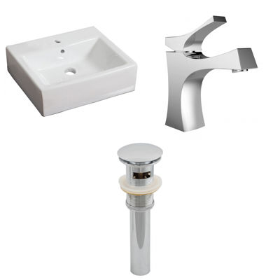21-in. W Wall Mount White Vessel Set For 1 Hole Center Faucet - Faucet Included