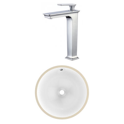 15-in. W CSA Round Undermount Sink Set In White -Chrome Hardware With Deck Mount CUPC Faucet