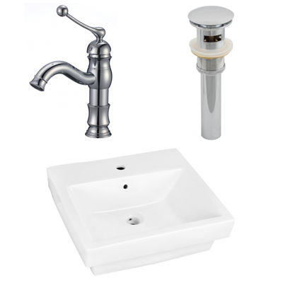 20.5-in. W Semi-Recessed White Vessel Set For 1 Hole Center Faucet - Faucet Included