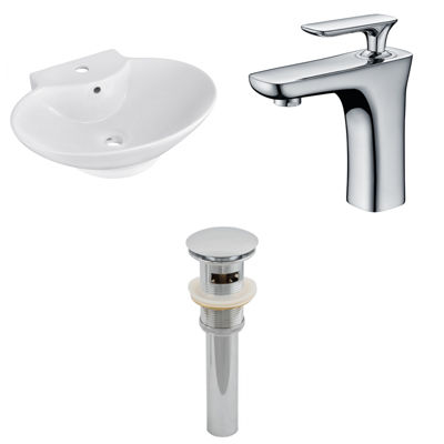 22.75-in. W Wall Mount White Vessel Set For 1 HoleCenter Faucet - Faucet Included