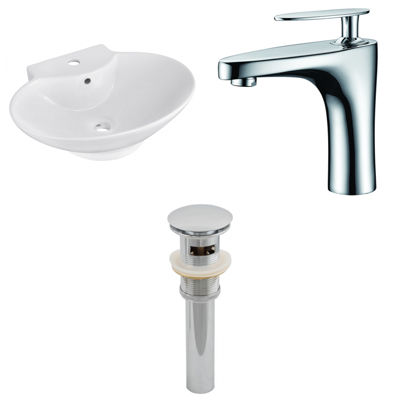 22.75-in. W Wall Mount White Vessel Set For 1 Hole Center Faucet - Faucet Included