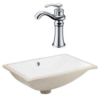 20.75-in. W CSA Rectangle Undermount Sink Set In White - Chrome Hardware With Deck Mount CUPC Faucet
