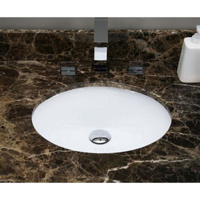 19.5-in. W Oval Undermount Sink Set In White - Chrome Hardware With 1 Hole CUPC Faucet