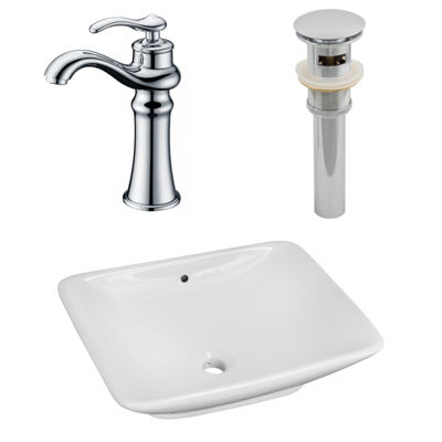 21.5-in. W Above Counter White Vessel Set For DeckMount Drilling - Faucet Included