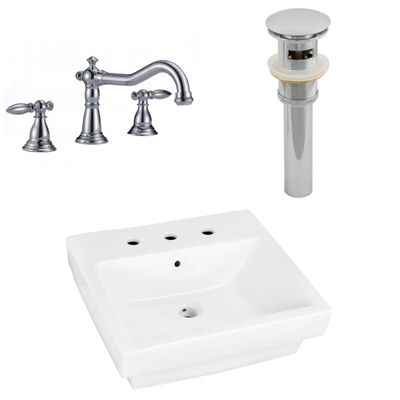 19-in. W Above Counter White Vessel Set For 3H8-in. Center Faucet - Faucet Included