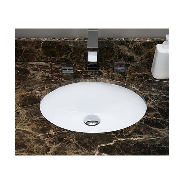 19.5-in. W Oval Undermount Sink Set In White - Overflow Drain Included