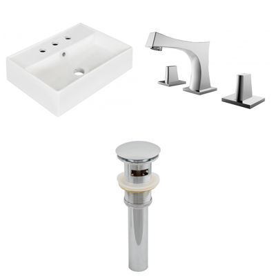 19.75-in. W Wall Mount White Vessel Set For 3H8-in. Center Faucet - Faucet Included