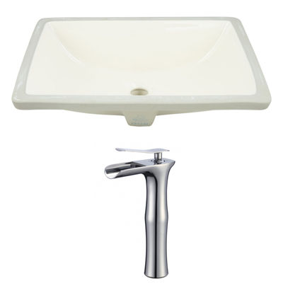 18.25-in. W CUPC Rectangle Undermount Sink Set In Biscuit - Chrome Hardware With Deck Mount CUPC Faucet