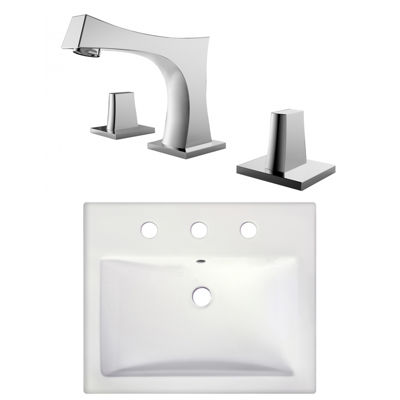 20.75-in. W Semi-Recessed White Vessel Set For 3H8-in. Center Faucet - Faucet Included