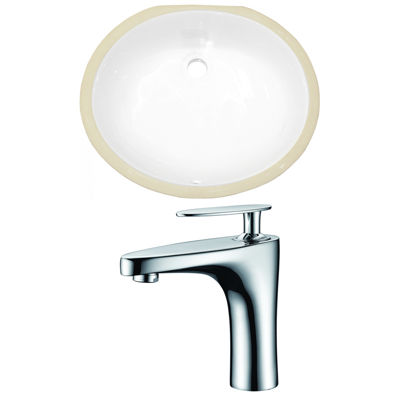 19.5-in. W CUPC Oval Undermount Sink Set In White- Chrome Hardware With 1 Hole CUPC Faucet