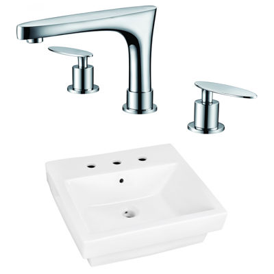 20.5-in. W Above Counter White Vessel Set For 3H8-in. Center Faucet - Faucet Included